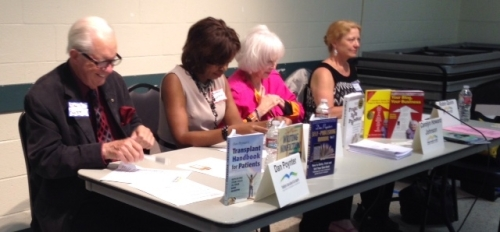 """""""Hot"""" Publishing Panel sponsored by Publicity Association of Los Angeles (PALA). Left to right, Dan Poynter, """"publishing guru; __, Carolyn Howard-Johnson, author, and Robin Quinn, book-doctor and moderator for the evening."""