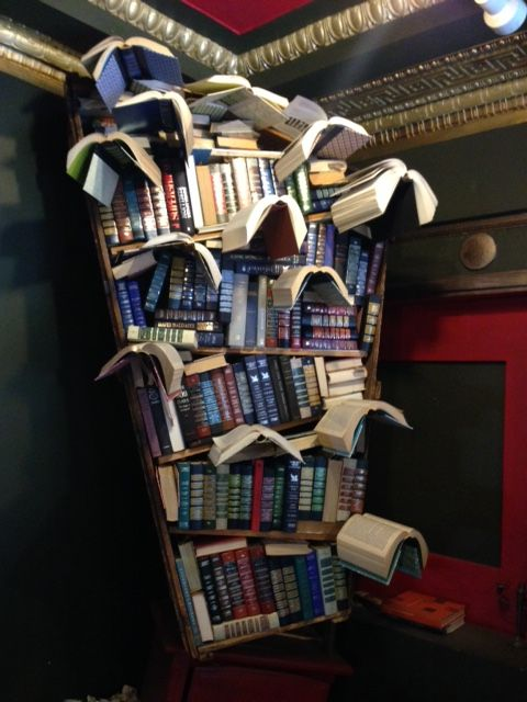 Books are displayed in imaginative ways...